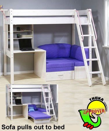 Bunkbed With Futon And Desk Thuka Maxi Maxi White 7 Loft Bed With Sofa Bed And Desk Sofa Be Girls Loft Bed Loft Bed With Couch Bunk Beds With Stairs