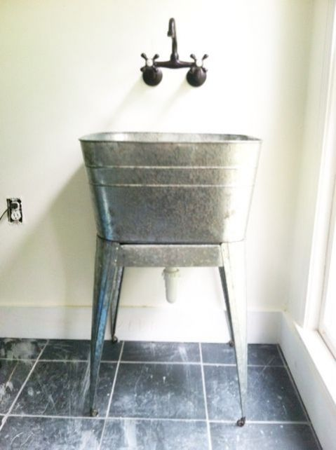 Galvanized Laundry Sink Narrow Unique Laundry Room Sink Steel Tub