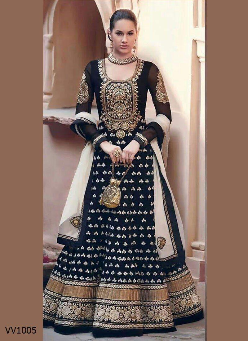 d55ae8431035 837-lady bazaar New Black Floor Touch Embroidered Designer Anarkali ...