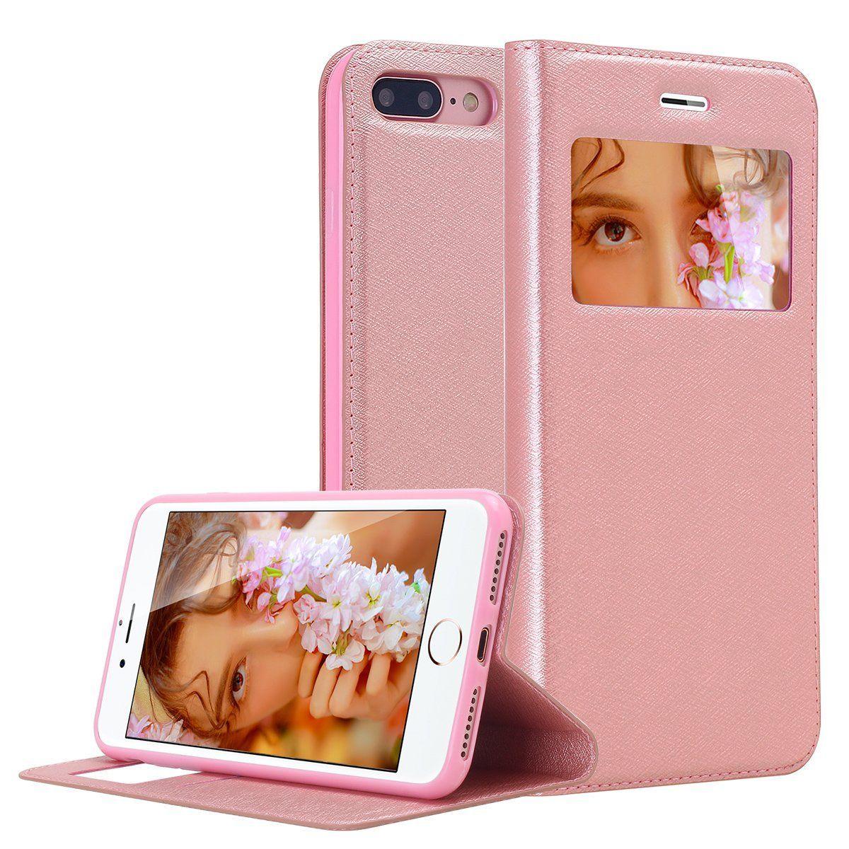 Iphone 8 Plus Case Iphone 7 Plus Case Hekodonk Window View Brushed Pu Leather Slim Folio Flip Cover Tpu Soft Inner S Iphone Iphone 7 Plus Cases Iphone 7 Plus