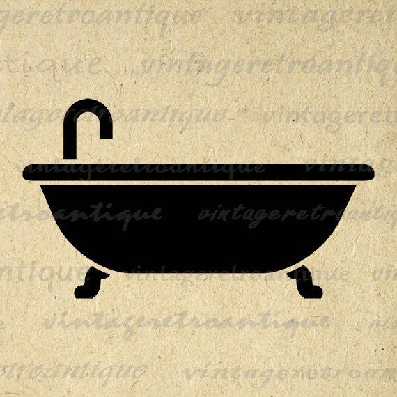 Bathtub Printable Digital Graphic Bathroom Icon Download Bathtub Icon Image Vintage Clip Art Jpg Png Eps 18x18 HQ 300dpi No.4444 @ vintageretroantique.etsy.com