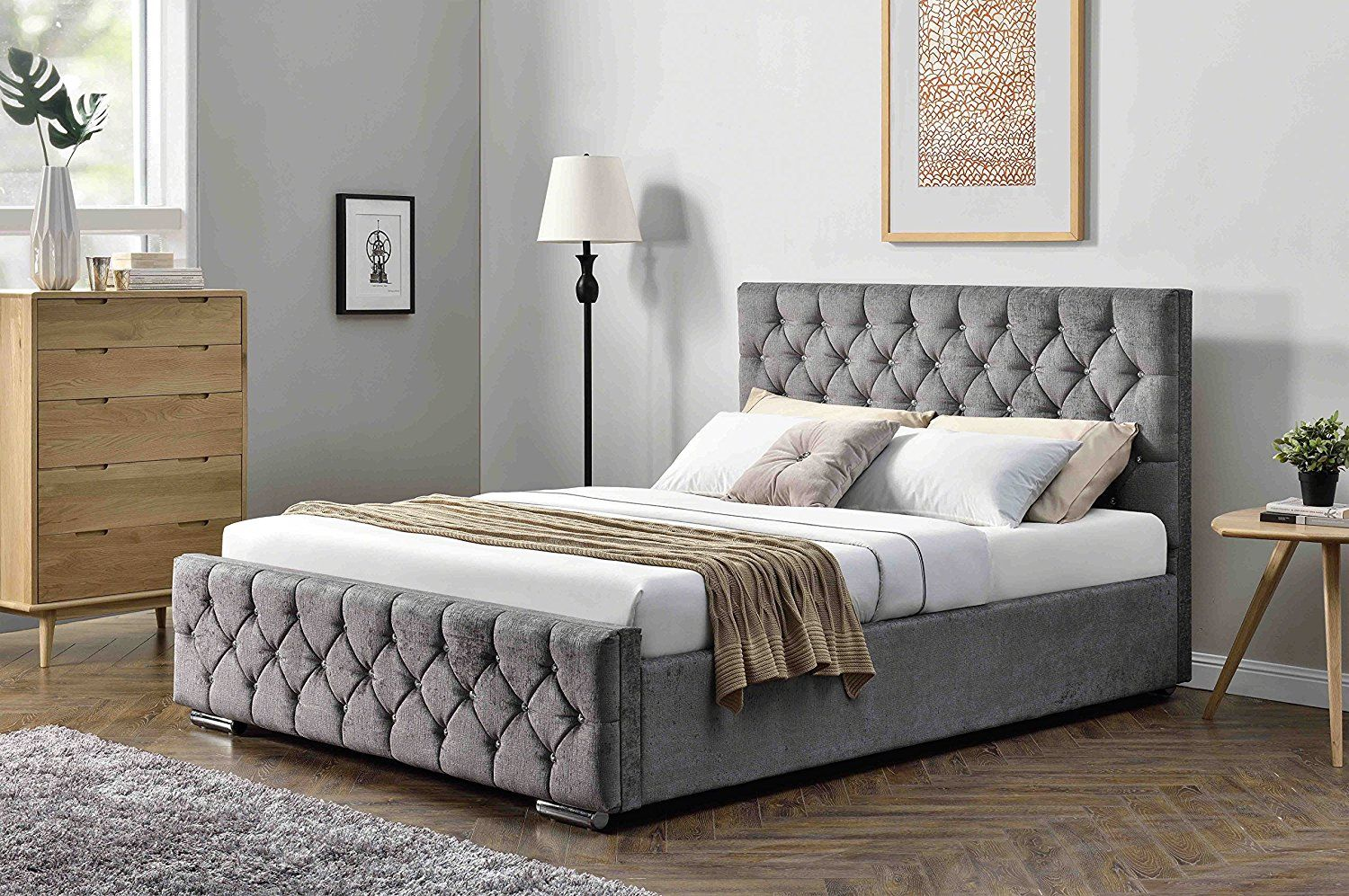 Unmatchable Ottoman Storage Diamond Design Upholstered Bed Frame In Velvet Or Chenille Available In Double Or Upholstered Bed Frame Ottoman Bed Storage Ottoman