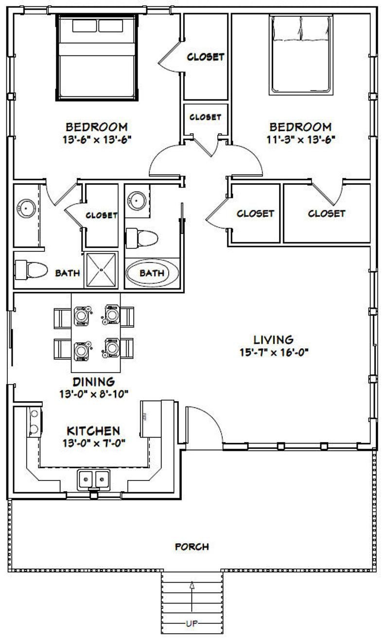 30x40 House 2 Bedroom 2 Bath 1136 Sq Ft Pdf Floor Etsy In 2020 30x40 House Plans Guest House Plans Small House Floor Plans
