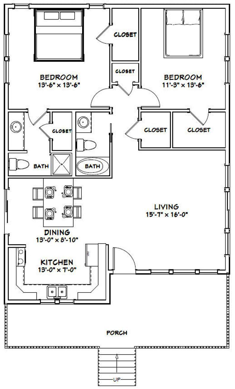 30x40 House 2 Bedroom 2 Bath 1136 Sq Ft Pdf Floor Etsy In 2020 30x40 House Plans Guest House Plans Small House Floor Plans