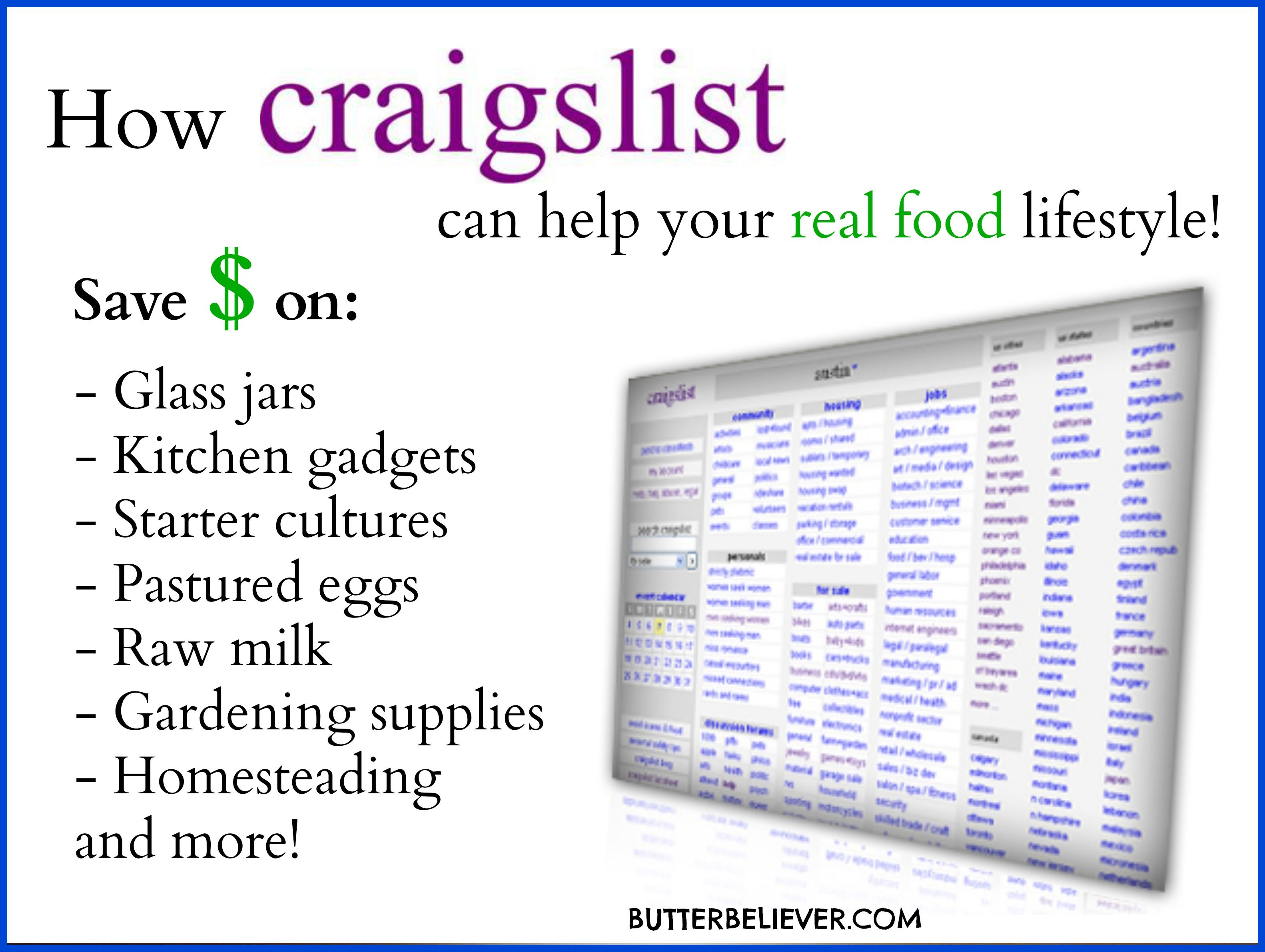 How To Use Craigslist To Find Real Food Stuff And Save Money Real Food Recipes Emergency Prepping Canning