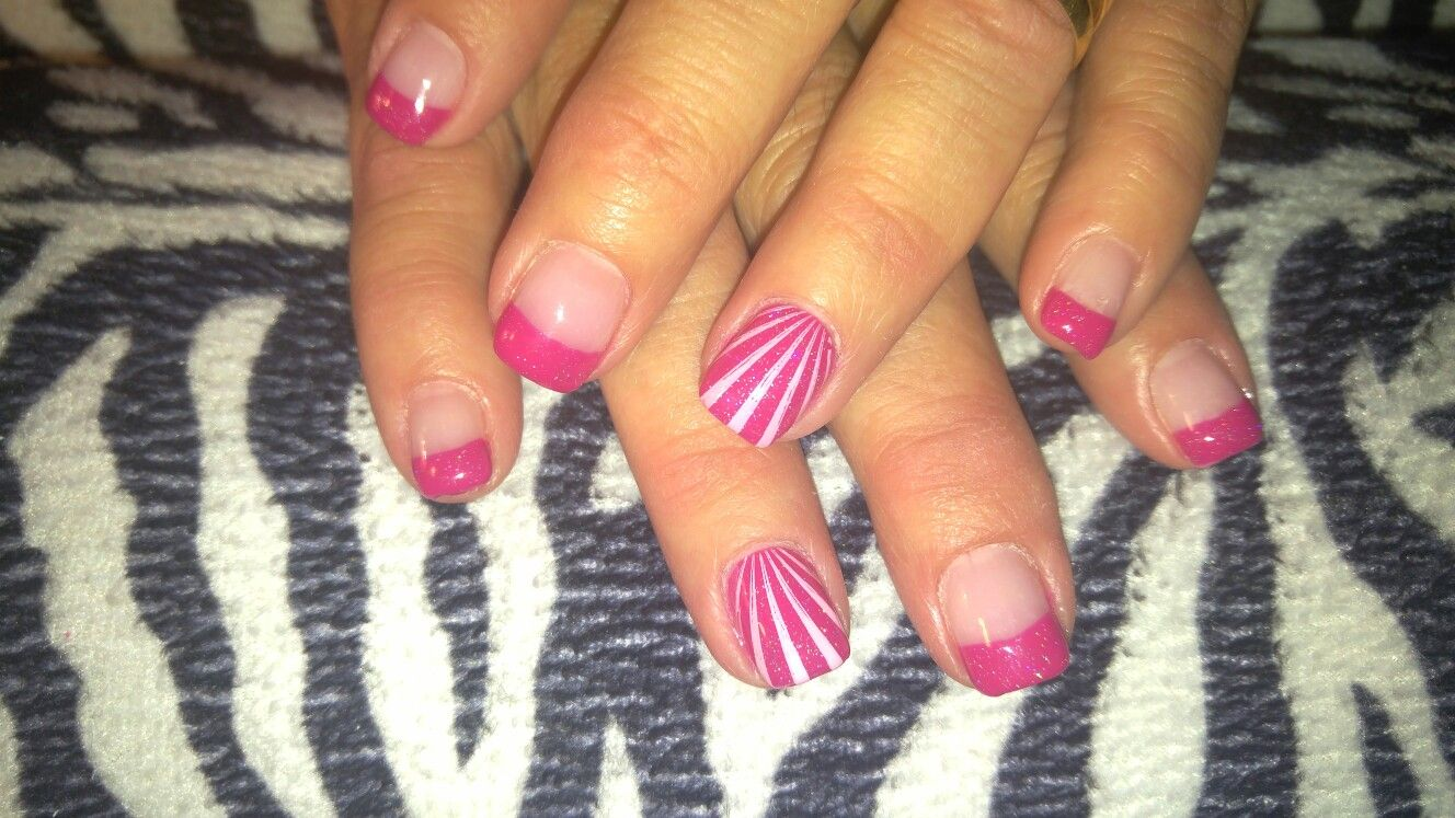 Hot pink acrylic French tip nails! Custom made hot pink French tip ...