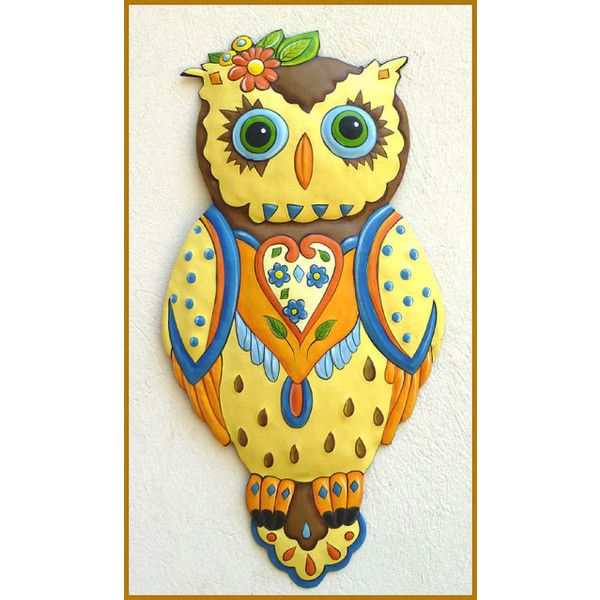 Painted Metal Owl Wall Hanging - Decorative Wall Art 24\