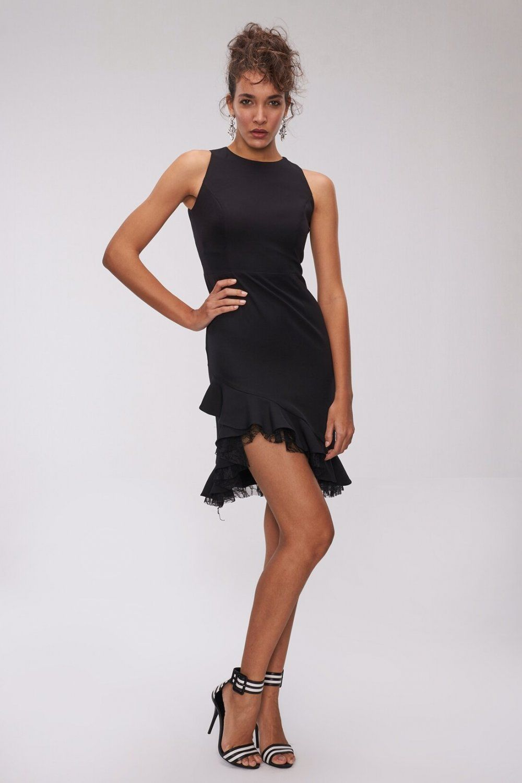 People By Fabrika Dantel Detayli Mini Abiye Elbise Elbisebul The Dress Siyah Kisa Elbise Elbise