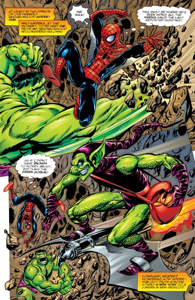 spider-man vs. the hulk and green goblin in spider-man chapter one