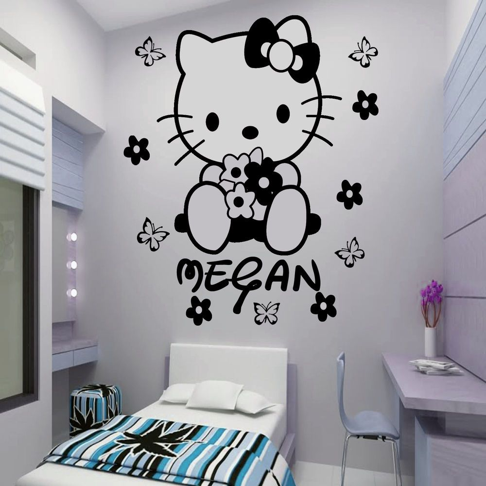 Details About HELLO KITTY Fairy Personalised Wall Sticker