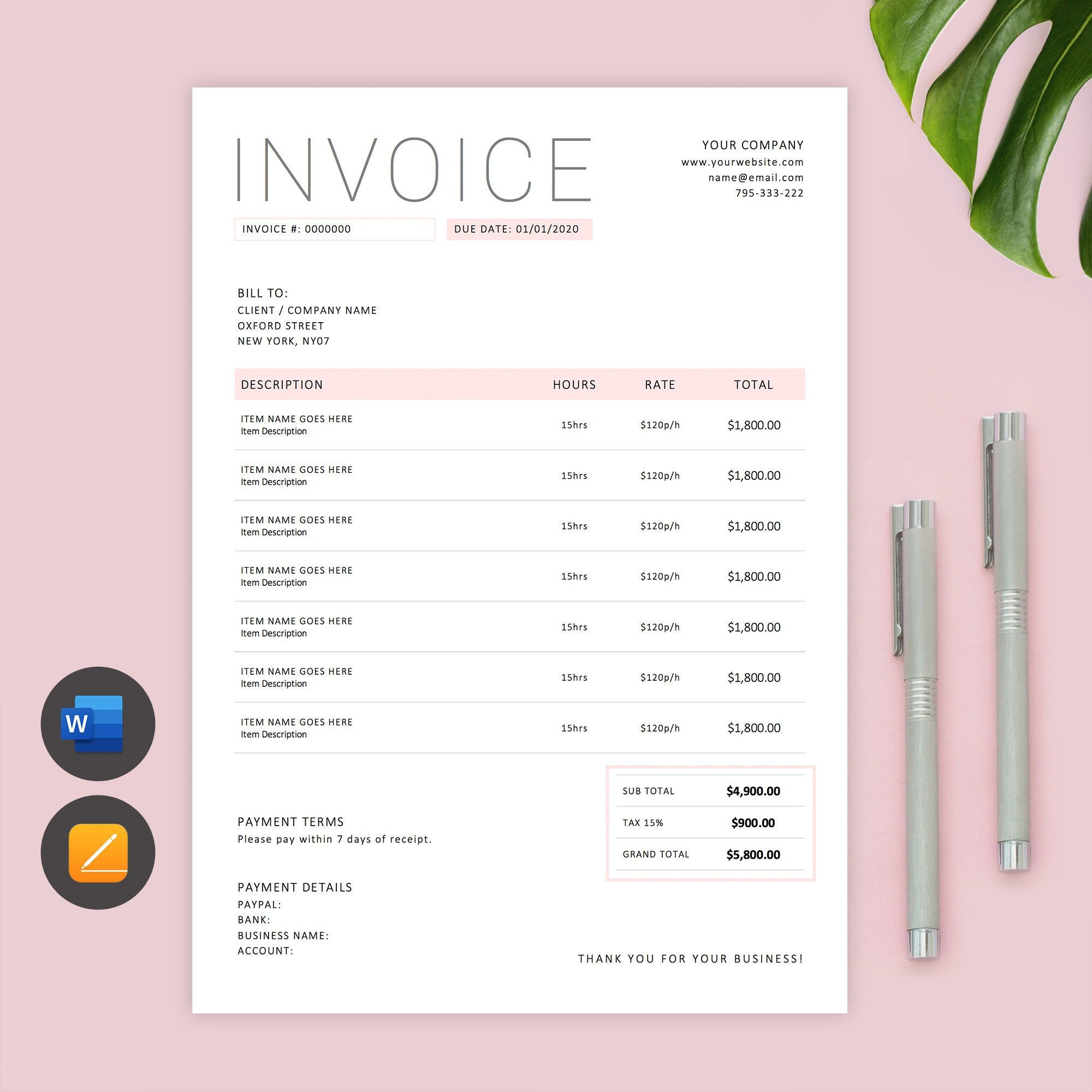 Invoice Template Word Printable Invoice Custom Order Form Photography Invoice Temp Photography Invoice Template Invoice Template Word Photography Invoice