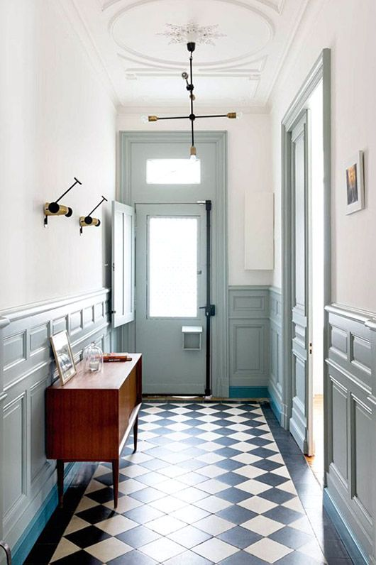 Entry Way With Mint Details And Black And White Patterned Floor Tiles Sfgirlbybay Hallway Inspiration Home French House
