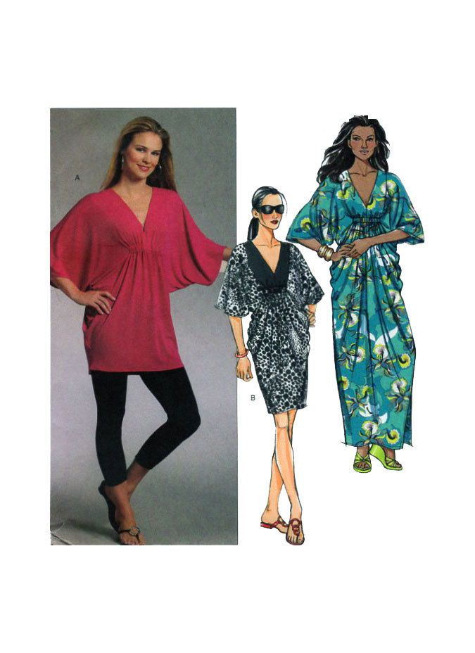 Oversized Button Up Yoke Top Tunic Bat Wings McCall Sewing Pattern 8 10 12 14 16
