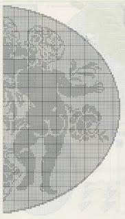 Schemi per il filet: Tenda in lino con inserti a filet, scudo con amorini, applicazioni e bordo