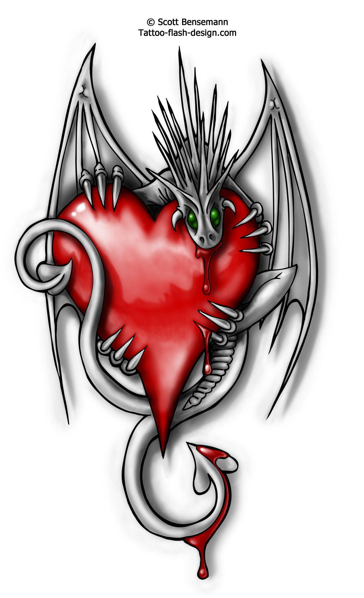 dragon tattoos Tattoo Flash Love Heart Dragon Design
