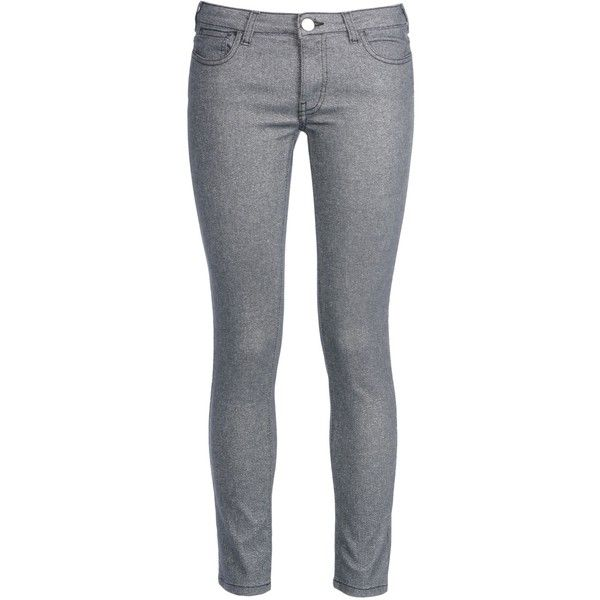 George J. Love Denim Trousers found on Polyvore featuring pants, bottoms, jeans, pantalones, trousers, black, black denim trousers, black zipper pants, metallic pants and zipper pants