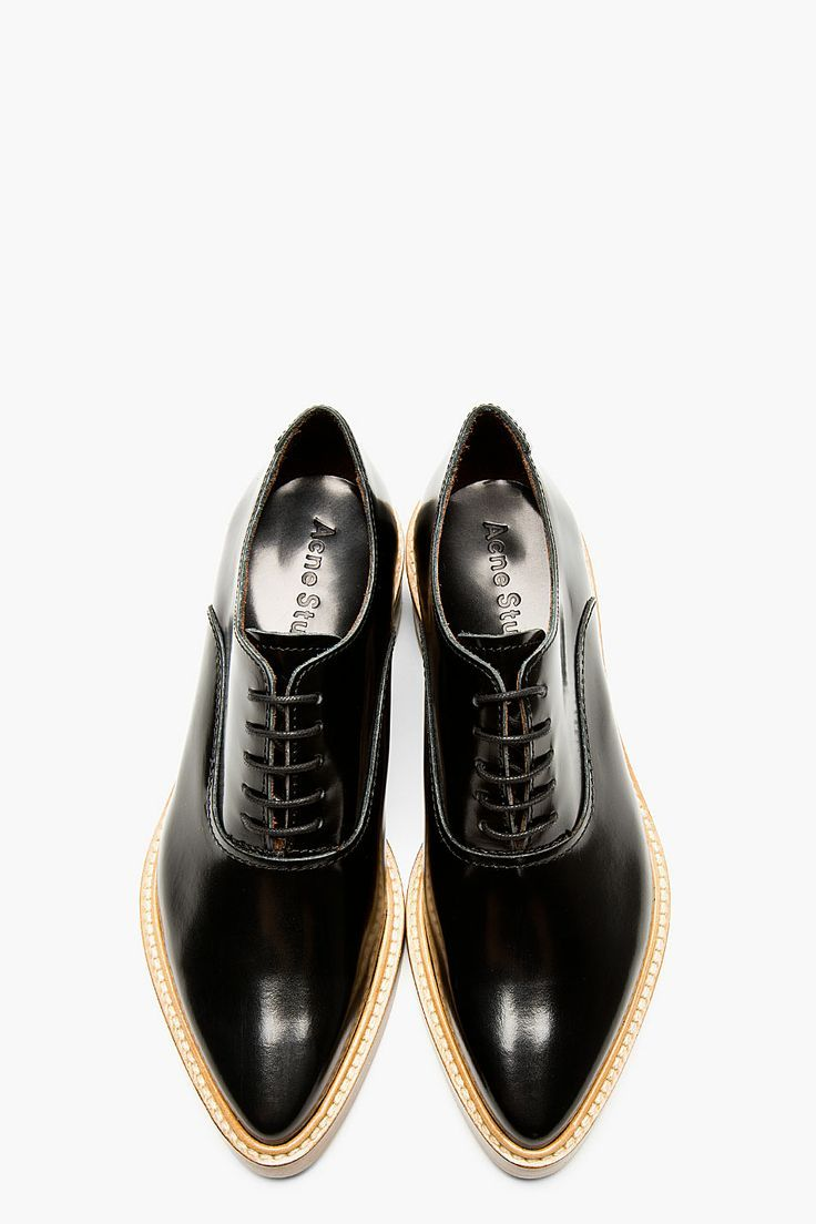 Acne Studios Black Leather Carla Oxfords.. #Acne #AcneStudios #Oxfords