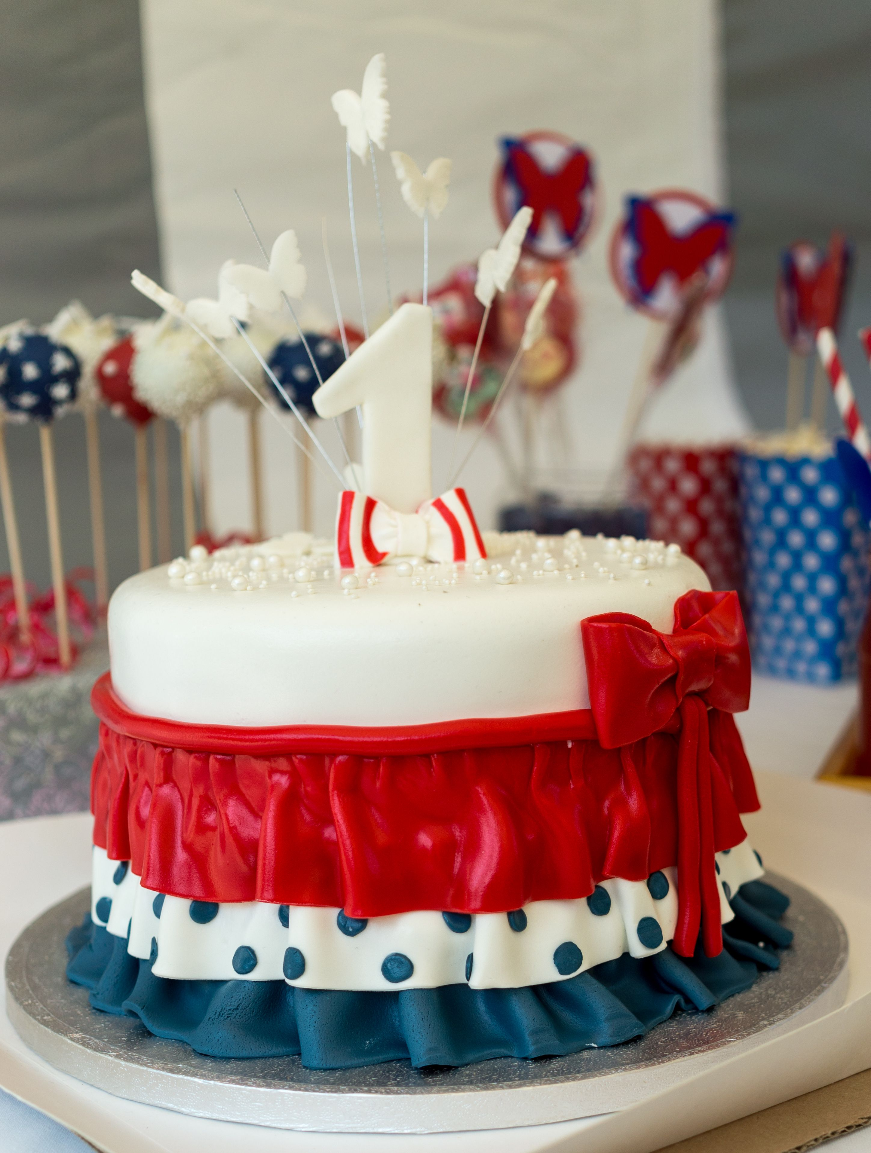 Our Daughter First Birthday Cake Red White Blue Party With