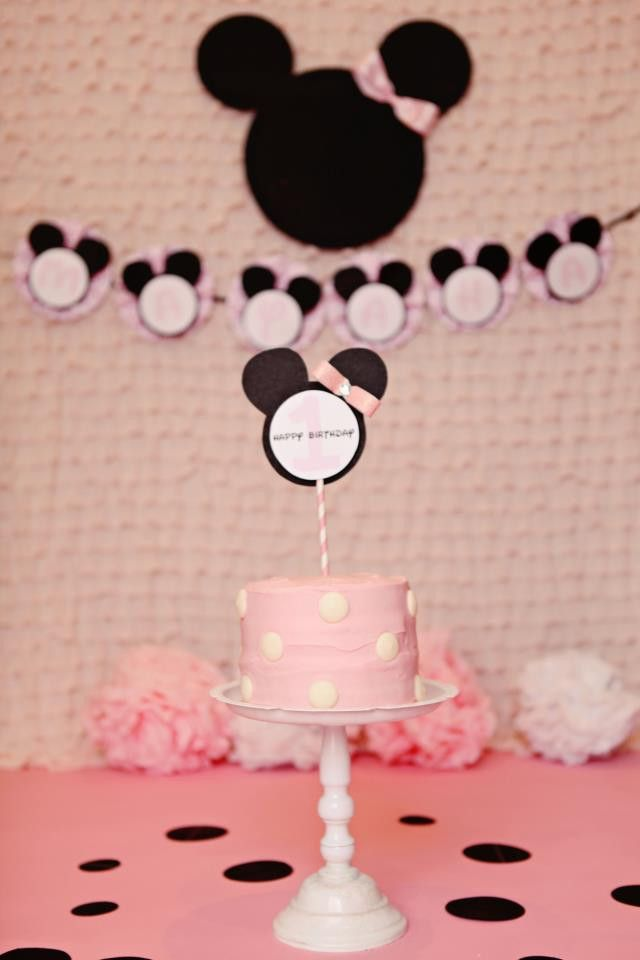 Minnie Mouse Birthday Cake Stick Cake Smash Pink Polka Dot