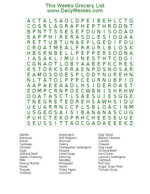 This Weeks Grocery List Word Find @ wwwDailyMesses - grocery list word