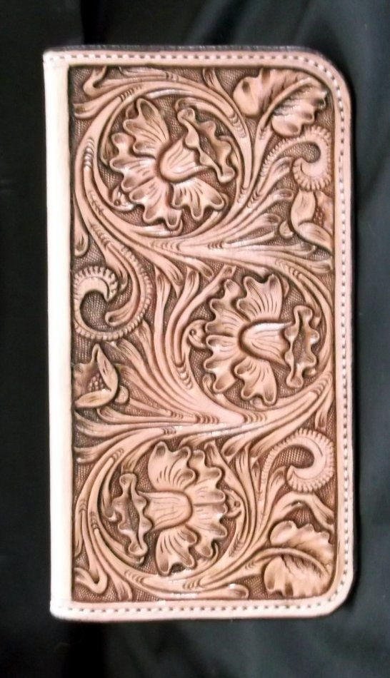 Custom leather hand tooled floral checkbook cover love