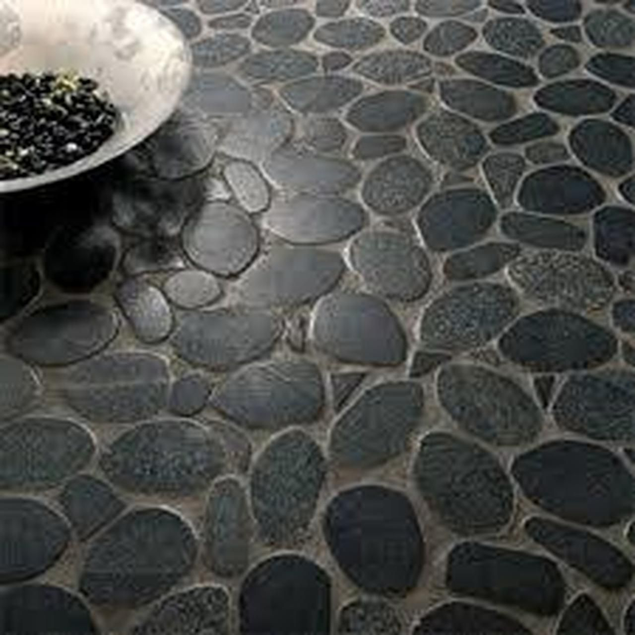 Zen Tahitian Black Sand Flat Polished Pebbles Mosaics 12x12 Pebble Mosaic Cottage Style Bathrooms Bathroom Styling