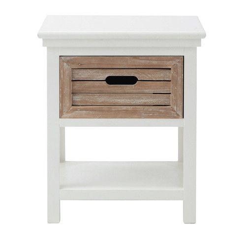 Wooden Bedside Table With Drawer White W 40cm Ouessant Maisons Du Monde Table De Chevet Blanche Table De Chevet Bois Table De Chevet