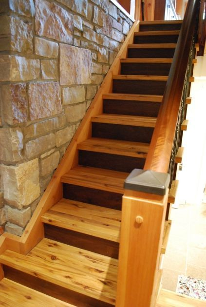 Best Reclaimed Hickory Treads Join Walnut Raisers And A Wanut Railing For A Custom Staircase At 400 x 300