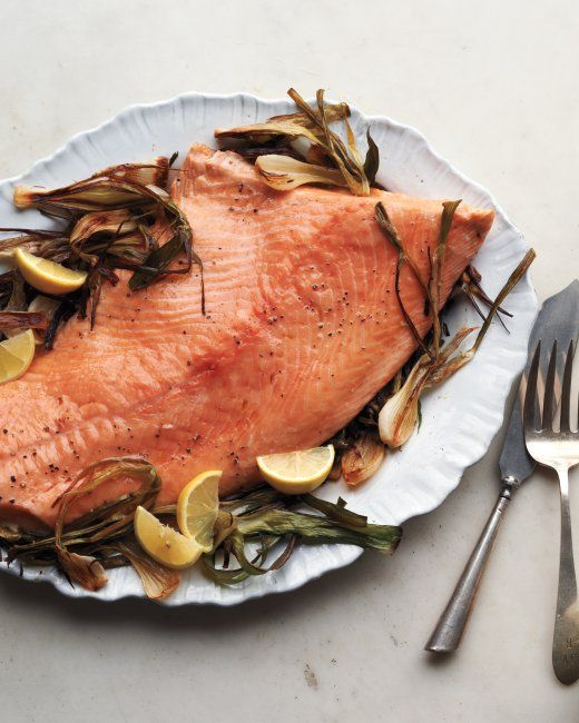 Roasted Salmon and Spring Onions with Mint-Caper Pesto Recipe