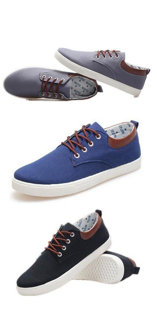 Zapatos de lona para hombre, diseño informal, color Negro, talla 44