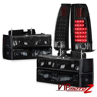 1994 1998 Chevy Silverado Tahoe Suburban Smoke Headlight Led Tail Lights Combo Carros Truck Auto
