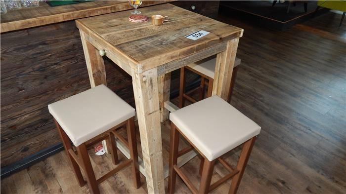 karner dechow industrie auktionen sitzgruppe bestehend aus hochtisch holz ca 700x700x1. Black Bedroom Furniture Sets. Home Design Ideas