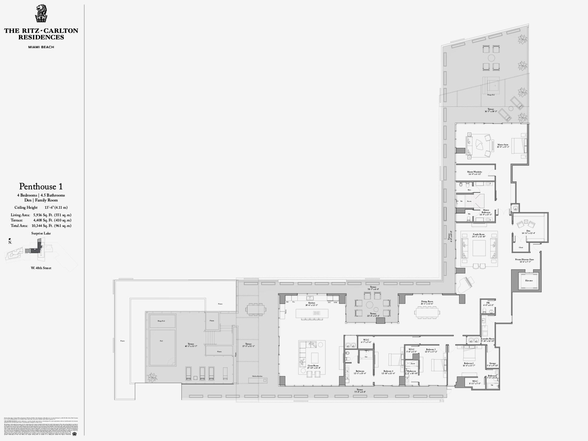 The Ritz Carlton Residences Miami Beach Penthouse 1 Miami Beach Condo Hotel Plan Miami Beach Penthouse