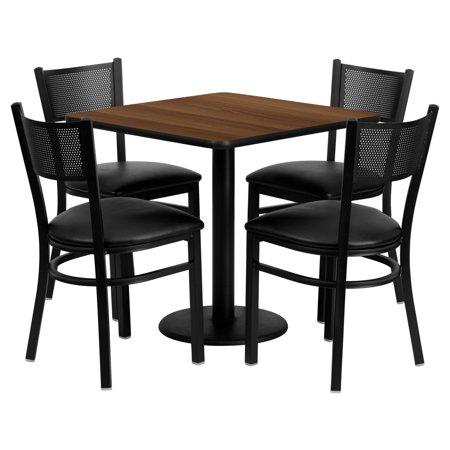 Flash Furniture 30 Square Walnut Laminate Table Set With 4 Grid