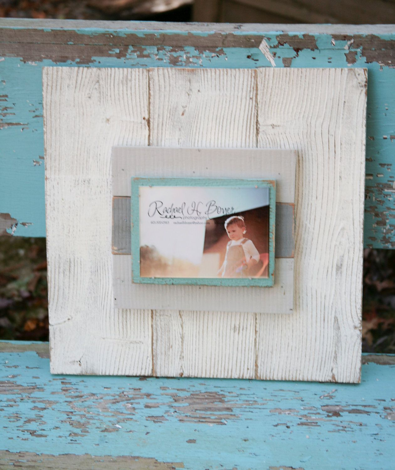 Distressed picture frame painted Cream, light grey, dark grey and ...