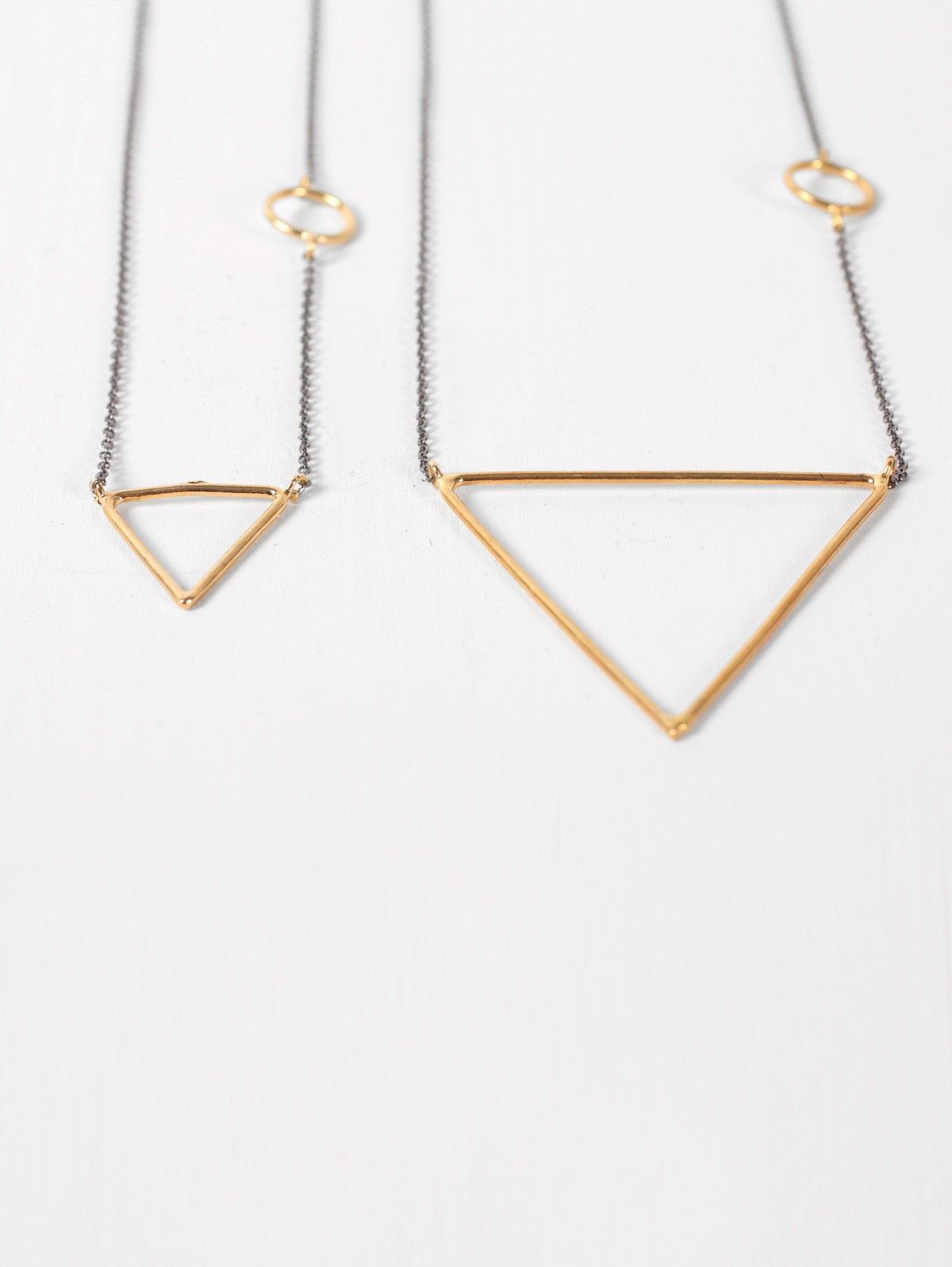 Gold Pyramid Necklace with Oxidised Silver Chain