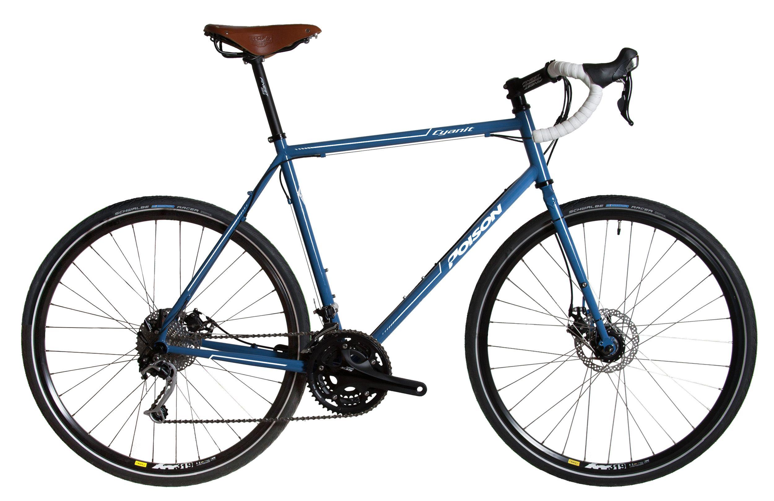 Poison Cyclocross Gravel Bike mit blauem Stahlrahmen und braunem ...
