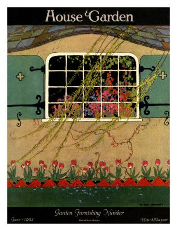 H. George Brandt illustrated this cover of the June 1921 House & Garden. A lovely cottage with its sloping roof and cheery green shutters sits contented behind a bed of bright red tulips.
