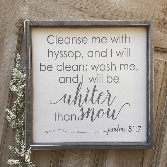 This Is A Rustic Framed Sign With Psalms 51 7 Painted In Grey Lettering Over A White Board The Lettering On Cleanse Me Perfect Gallery Wall Laundry Room Signs