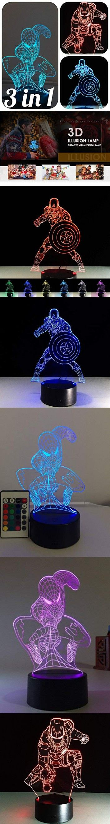 3 In 1 3d Night Lights For Kids 7 Colors 3d Led Illusion Lamp With Remote Control Bedroom Table Lamp Spiderman Captain America Ironman Avengers 3 In1 3d Night Light Night Light Spiderman Lamp