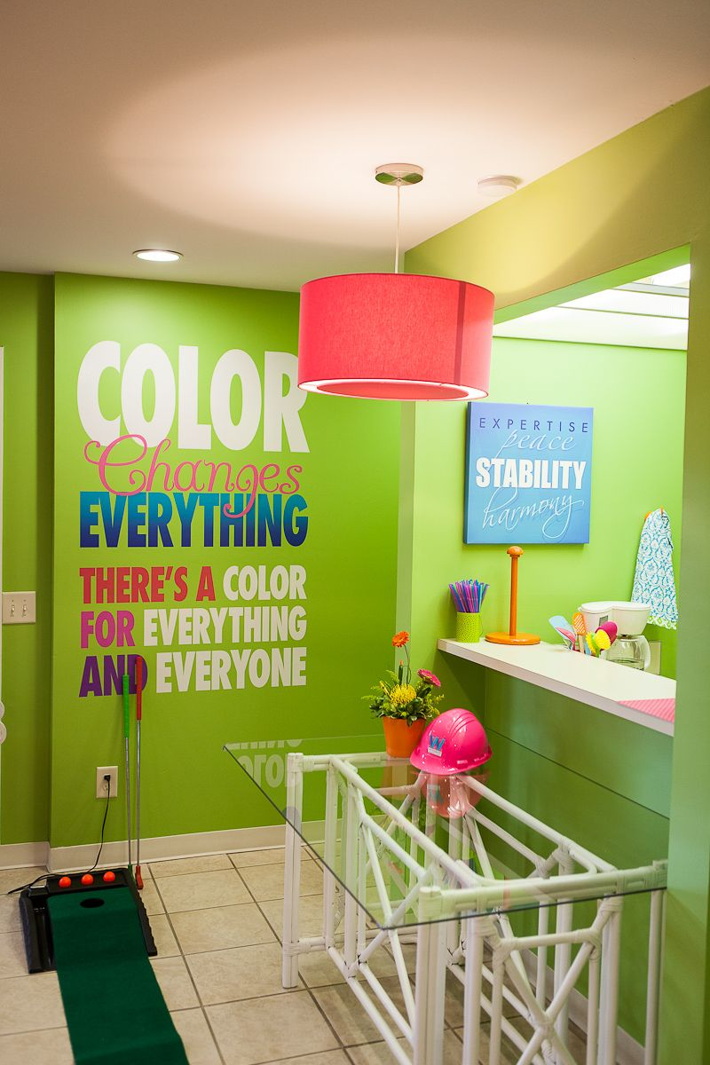 At Woodruff We Believe Color Changes Everything In Our Employee Break Room You Can T Help But Smile Break Room Office Break Room Break Room Decor