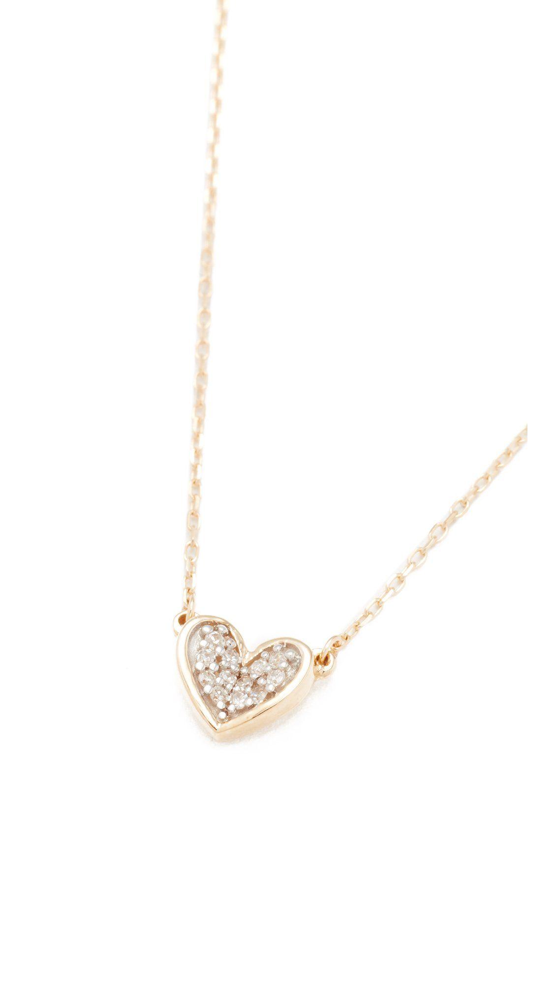Adina Reyter Women S Super Tiny Pave Folded Heart Necklace