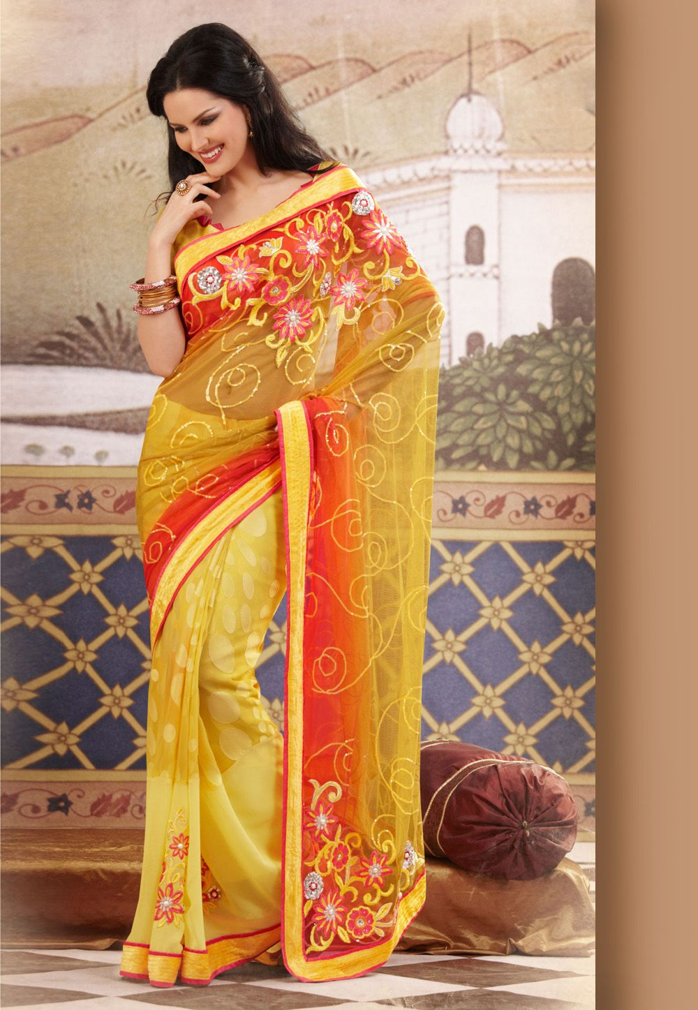 12ddfdcf86 #Yellow and #Pink Net and Brasso Faux Georgette #Saree With Blouse @ $135.42