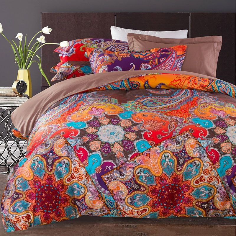 rust orange purple and blue vintage boho style tribal print paisley pattern cotton damask full queen size bedding sets