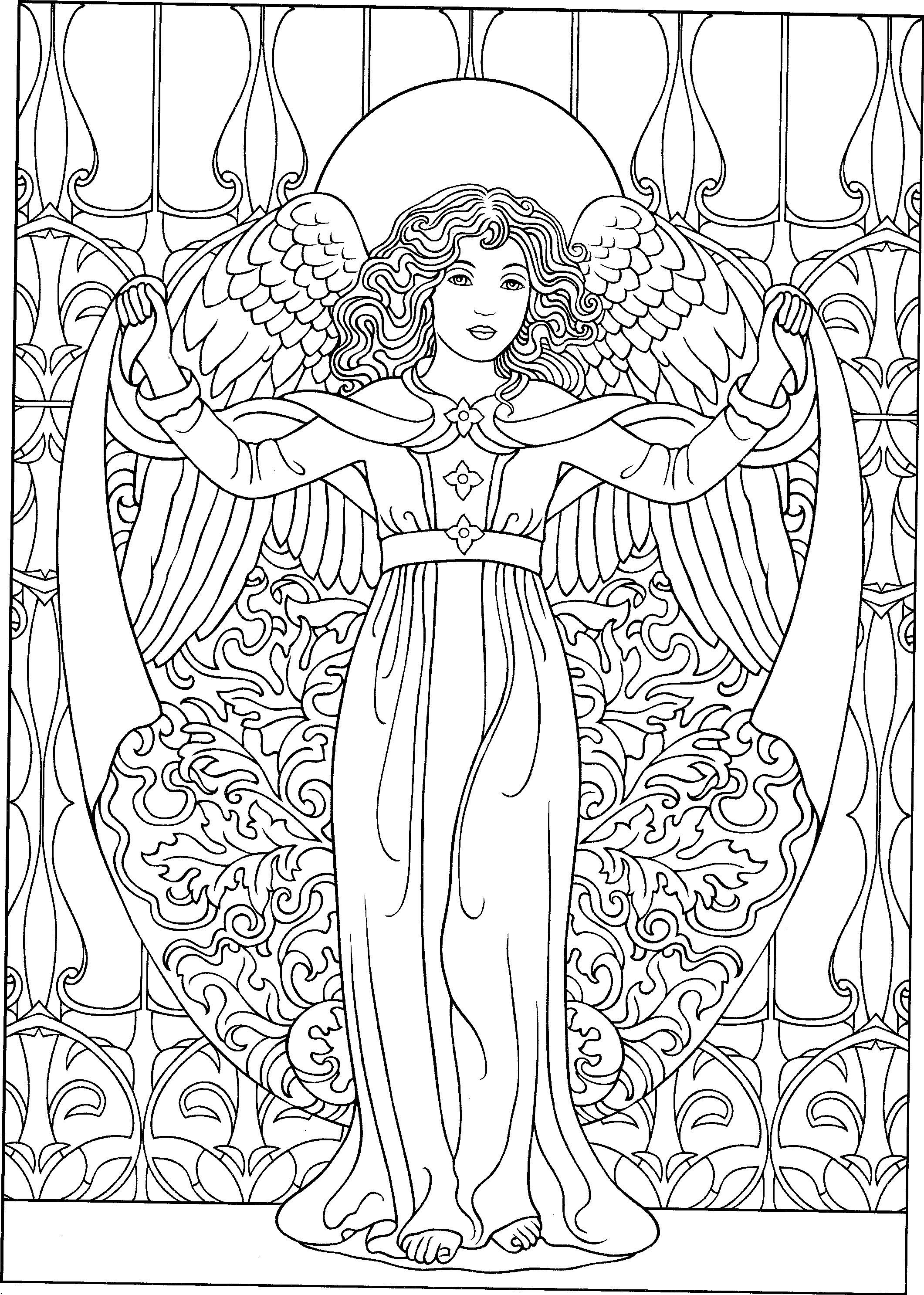 Beautiful angel coloring page adult colouring fairies for Coloring page angel