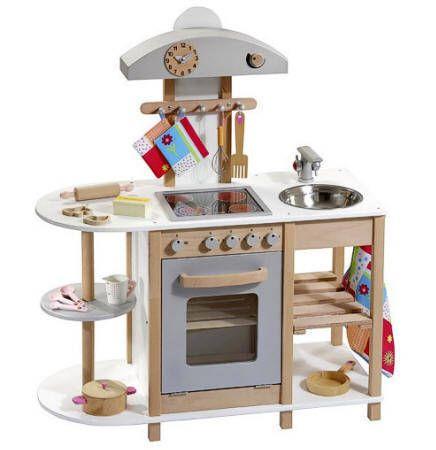 Cocina Madera infantil natural y blanca-plateada | Escolinha ideias ...