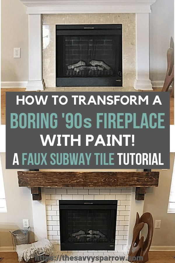 How to Paint Faux Subway Tile - A DIY Fireplace Makeover