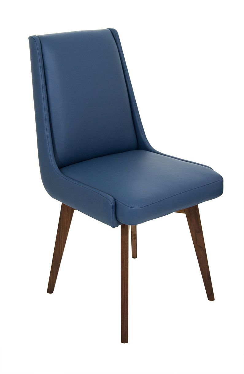 Kensington Dining Chair In Faux Navy Leather Midcentury Modern