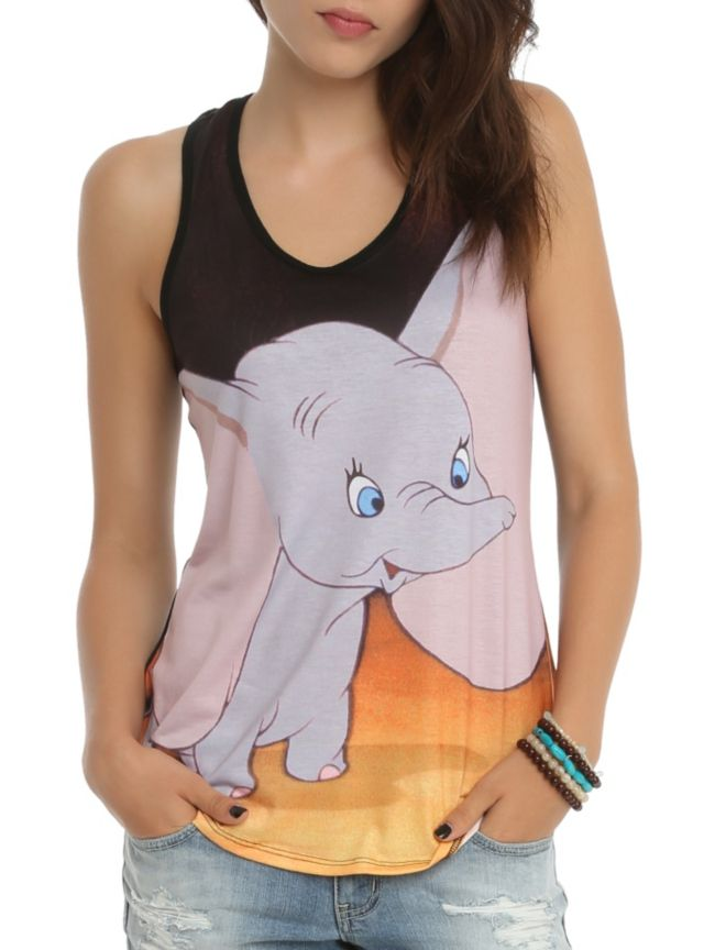 Racer back tank top from Disney with a Dumbo sublimation print on the front.