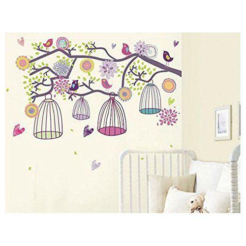 Bunter Vogelkäfig Wandtattoo Wandbilder für Kinderzimmer - amazon wandbilder wohnzimmer